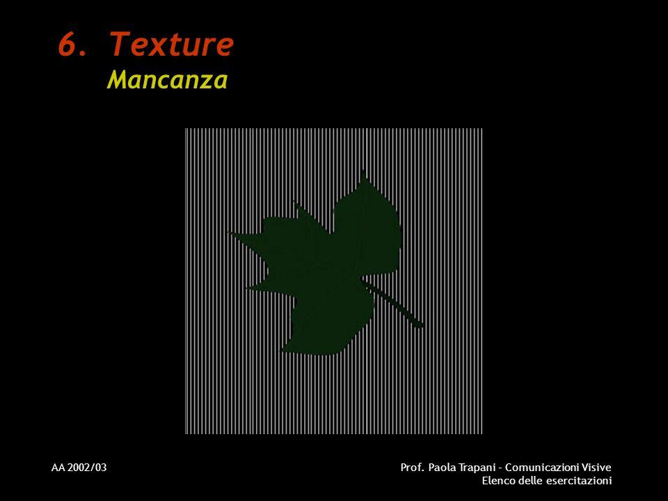 Texture Mancanza AA 2002/03 Prof. Paola Trapani - Comunicazioni Visive