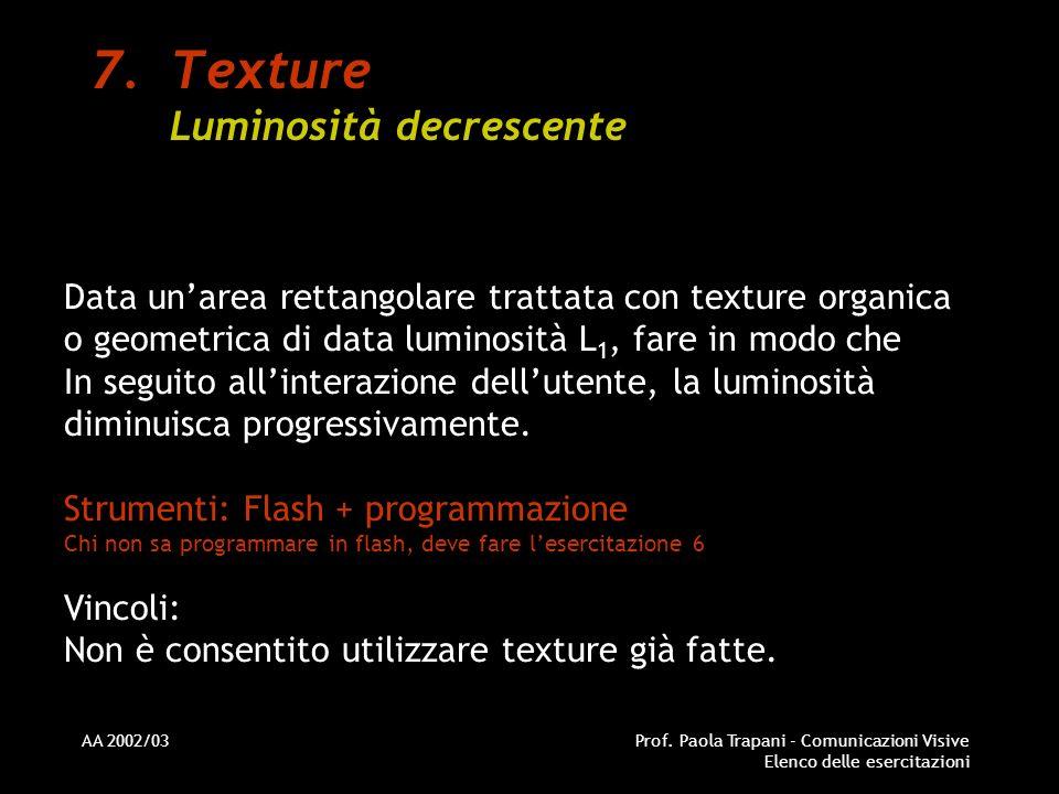 Texture Luminosità decrescente