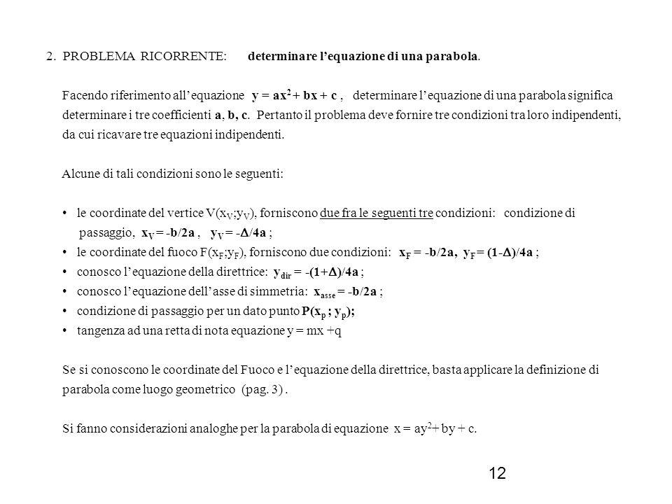 2. PROBLEMA RICORRENTE: determinare l'equazione di una parabola