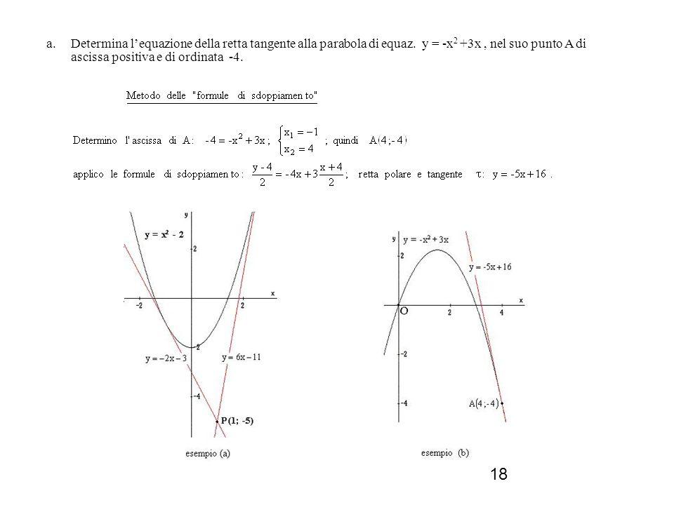 Determina l'equazione della retta tangente alla parabola di equaz