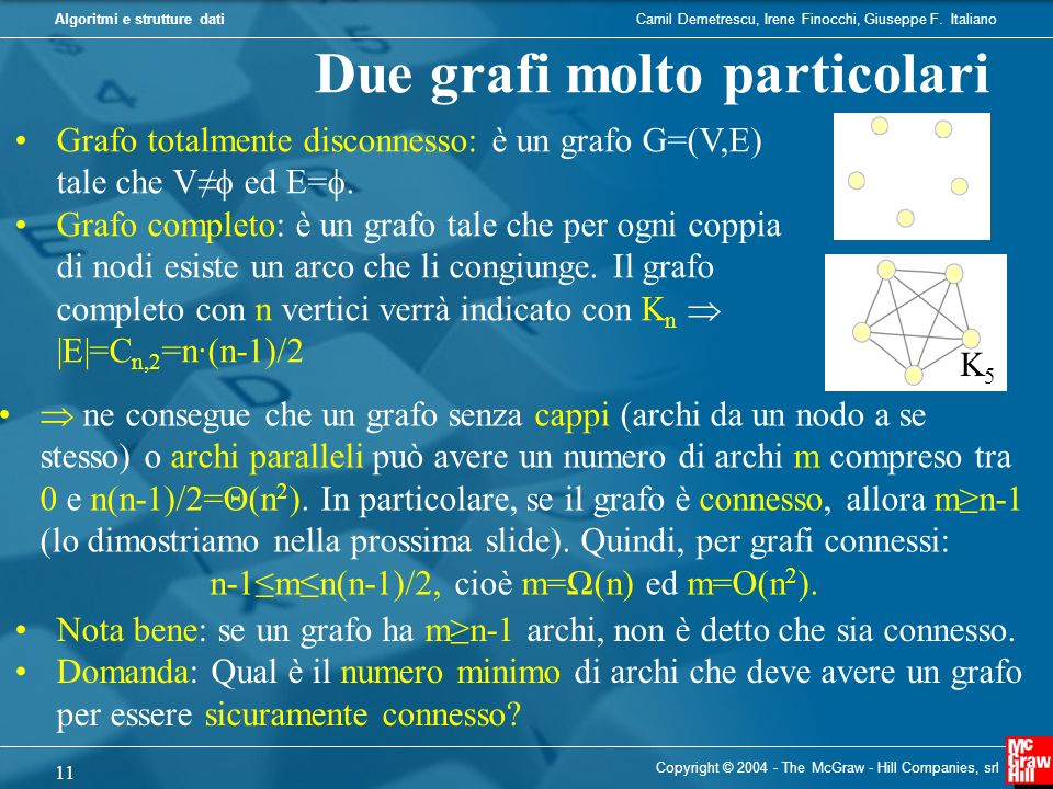 n-1≤m≤n(n-1)/2, cioè m=Ω(n) ed m=O(n2).