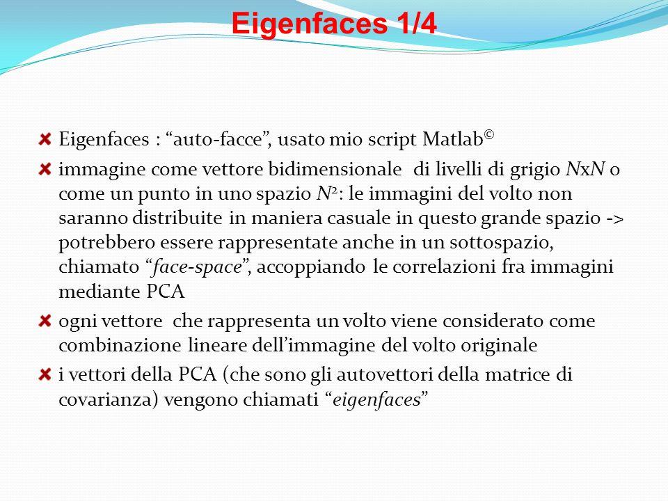 Eigenfaces 1/4 Eigenfaces : auto-facce , usato mio script Matlab©