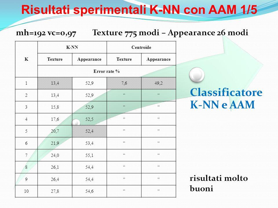 Risultati sperimentali K-NN con AAM 1/5