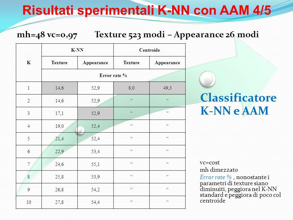 Risultati sperimentali K-NN con AAM 4/5