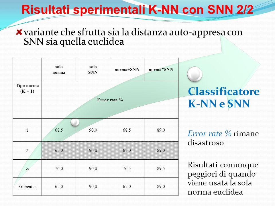 Risultati sperimentali K-NN con SNN 2/2