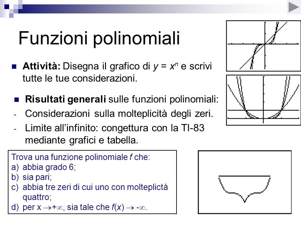 Funzioni polinomiali Attività: Disegna il grafico di y = xn e scrivi tutte le tue considerazioni. Risultati generali sulle funzioni polinomiali: