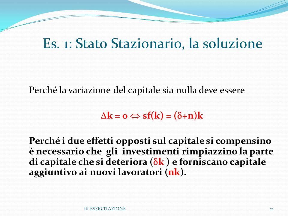 Es. 1: Stato Stazionario, la soluzione