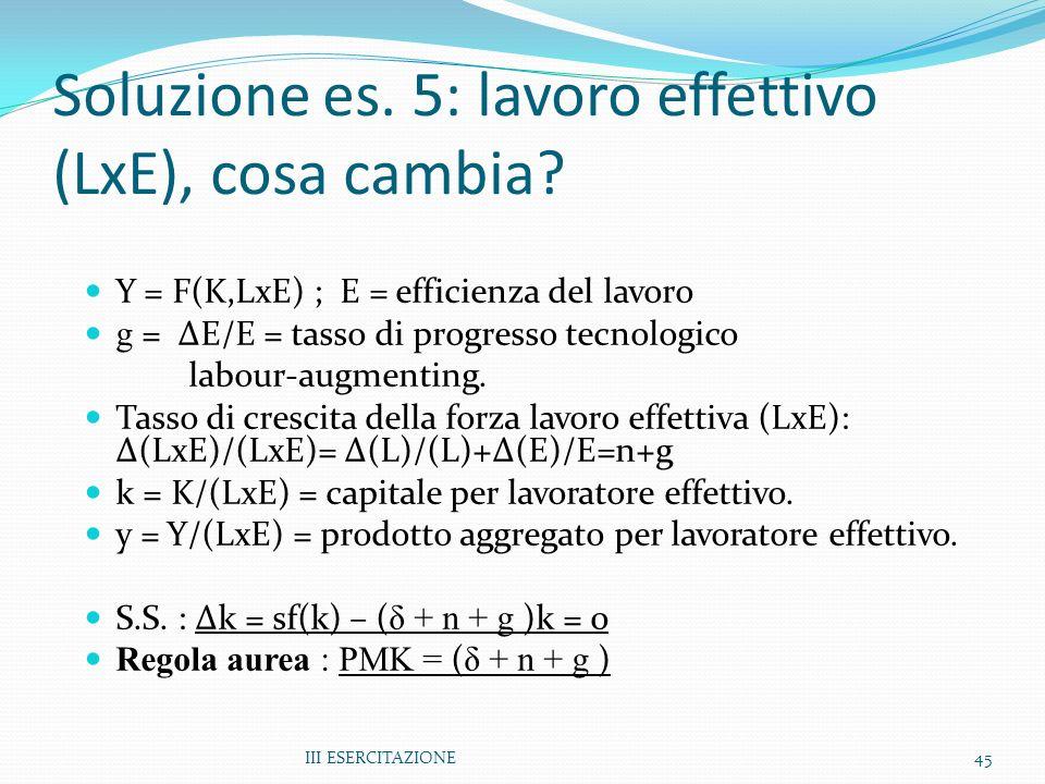 Soluzione es. 5: lavoro effettivo (LxE), cosa cambia