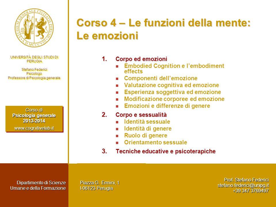 Corso 4 – Le funzioni della mente: Le emozioni