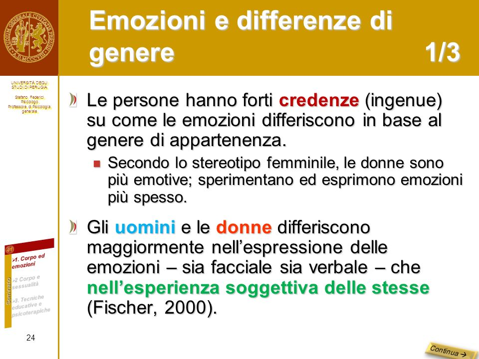 Emozioni e differenze di genere 1/3
