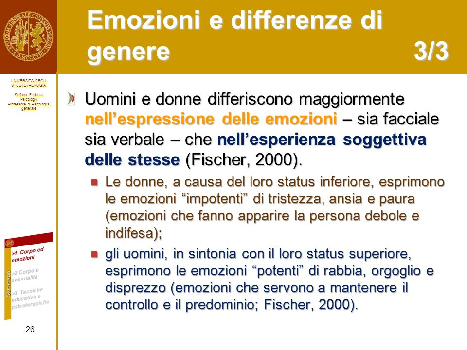 Emozioni e differenze di genere 3/3
