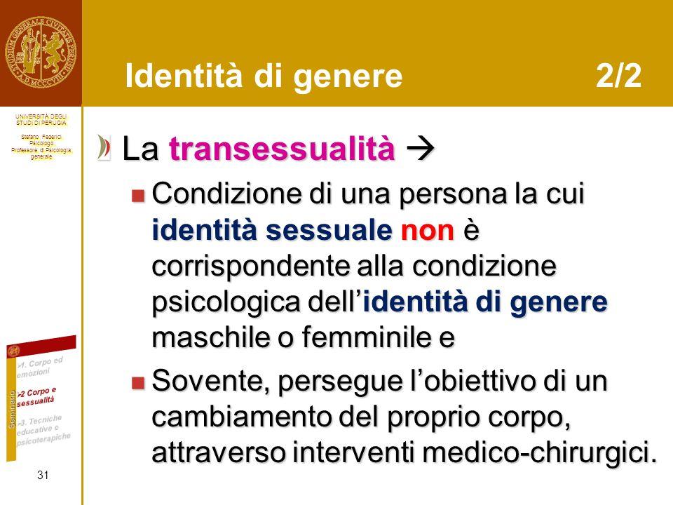 Identità di genere 2/2 La transessualità 
