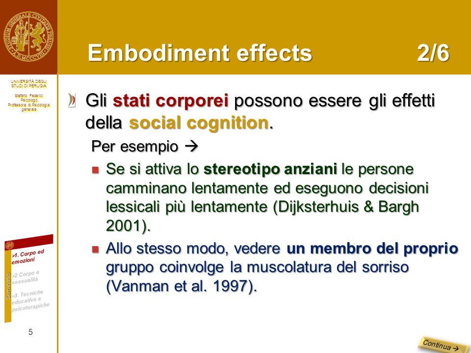 Embodiment effects 2/6 Gli stati corporei possono essere gli effetti della social cognition. Per esempio 