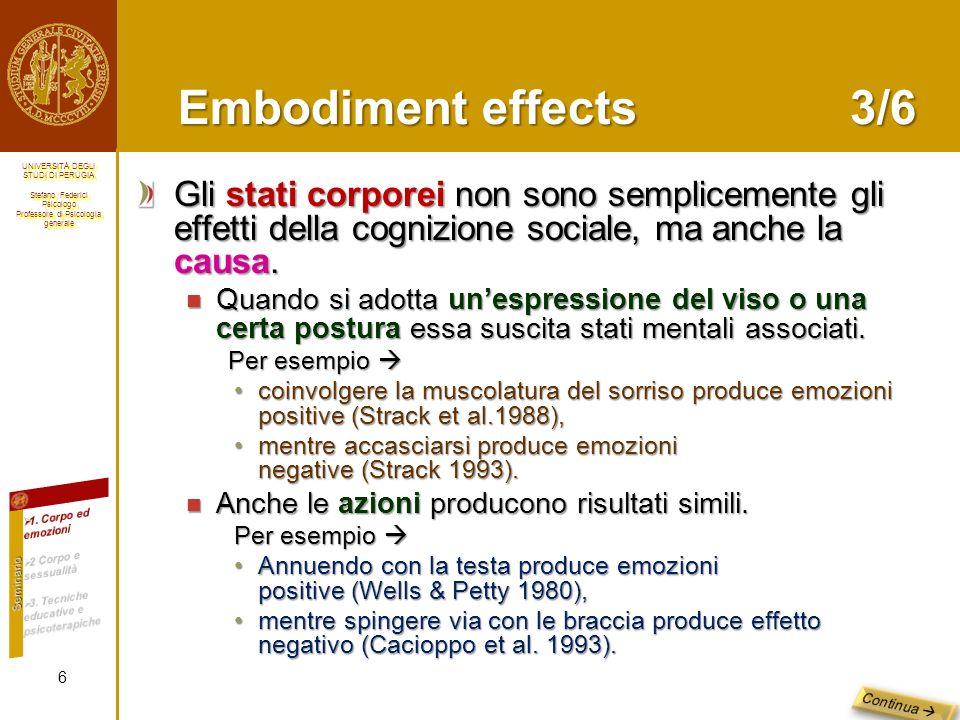 Embodiment effects 3/6 Gli stati corporei non sono semplicemente gli effetti della cognizione sociale, ma anche la causa.