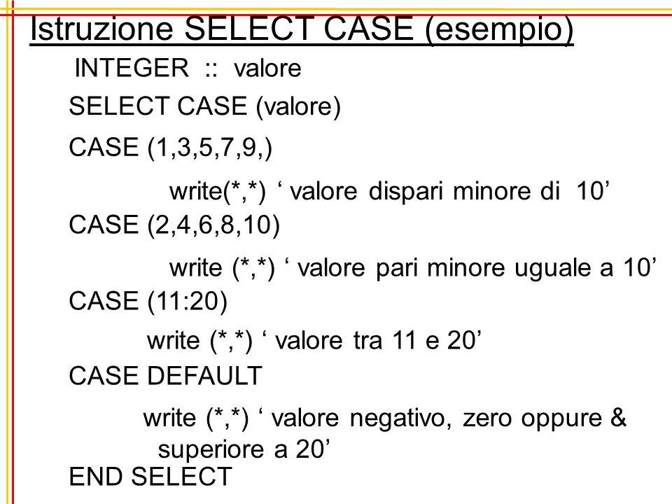 Istruzione SELECT CASE (esempio)