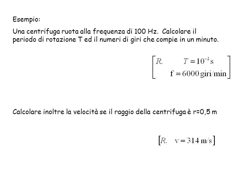 Esempio: Una centrifuga ruota alla frequenza di 100 Hz. Calcolare il periodo di rotazione T ed il numeri di giri che compie in un minuto.