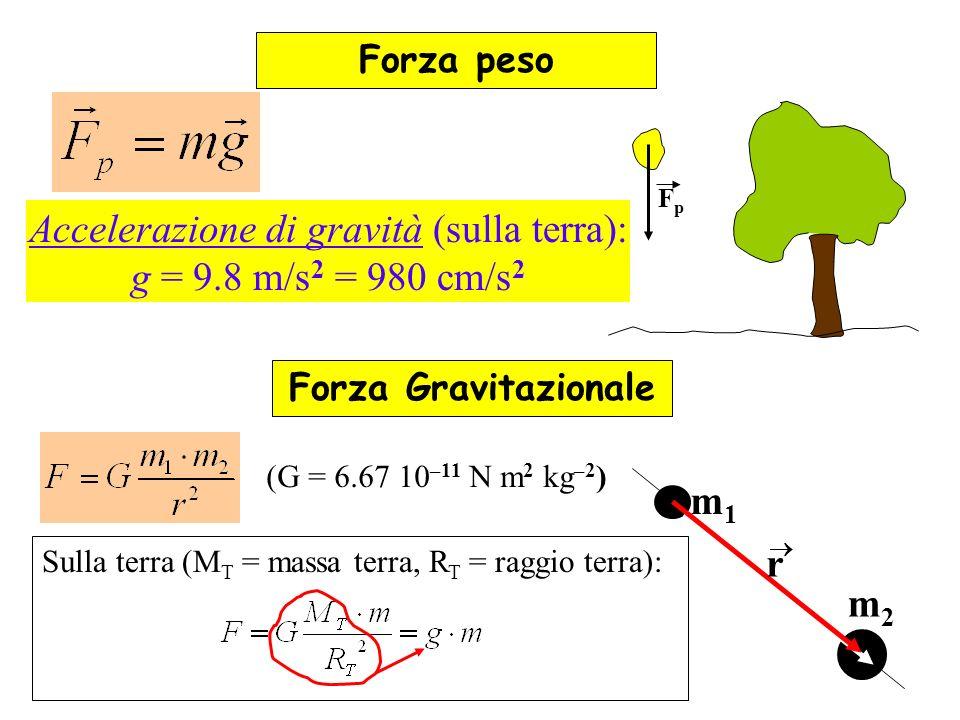 Accelerazione di gravità (sulla terra):