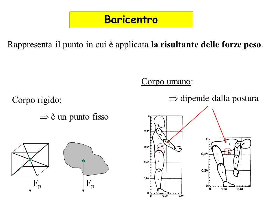 Baricentro Rappresenta il punto in cui è applicata la risultante delle forze peso. Corpo umano:  dipende dalla postura.