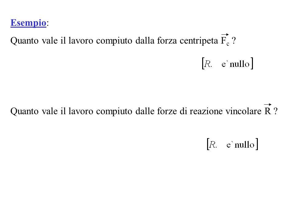 Esempio: Quanto vale il lavoro compiuto dalla forza centripeta Fc .