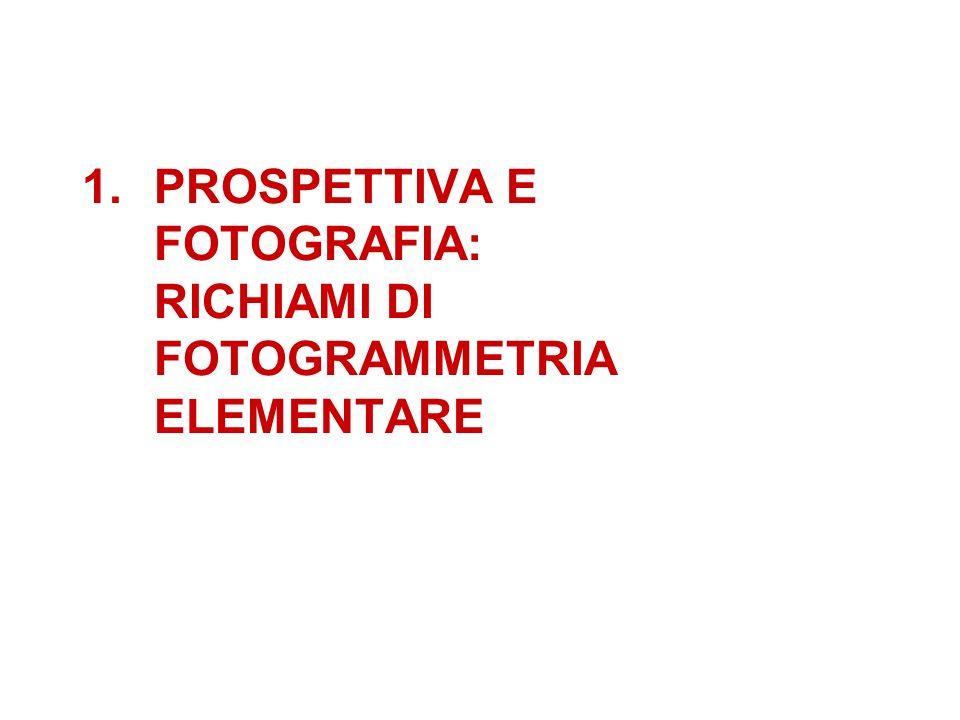 PROSPETTIVA E FOTOGRAFIA: RICHIAMI DI FOTOGRAMMETRIA ELEMENTARE