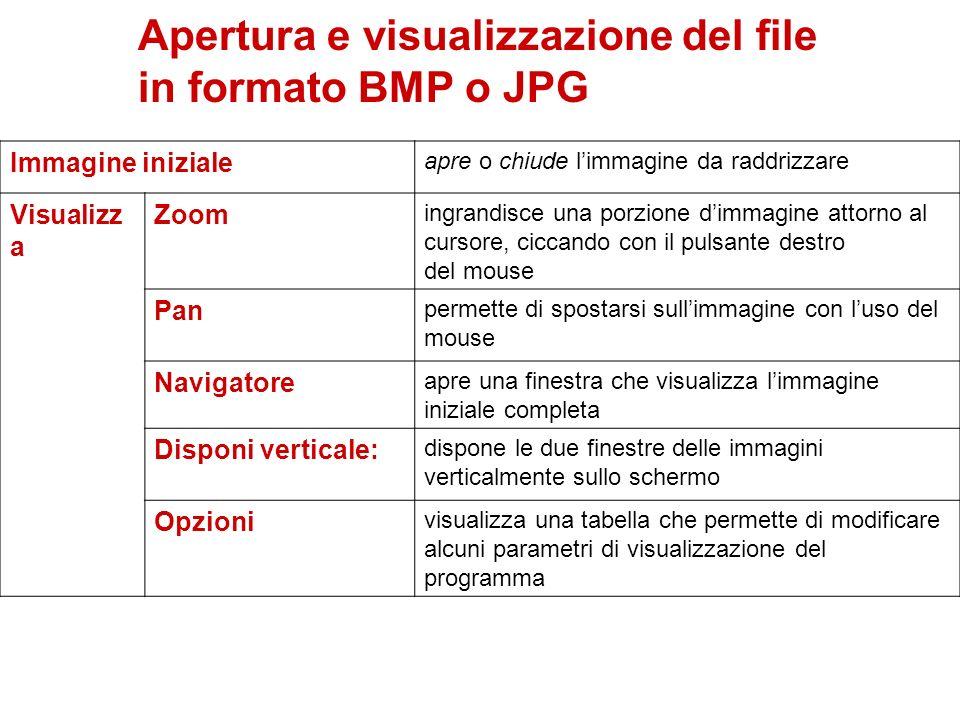 Apertura e visualizzazione del file in formato BMP o JPG