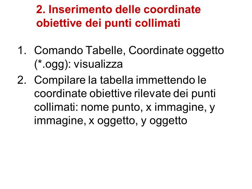 2. Inserimento delle coordinate obiettive dei punti collimati