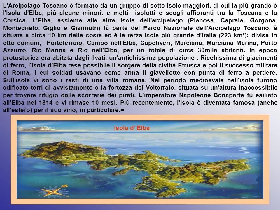 L Arcipelago Toscano è formato da un gruppo di sette isole maggiori, di cui la più grande è l Isola d Elba, più alcune minori, e molti isolotti e scogli affioranti tra la Toscana e la Corsica. L Elba, assieme alle altre isole dell arcipelago (Pianosa, Capraia, Gorgona, Montecristo, Giglio e Giannutri) fà parte del Parco Nazionale dell Arcipelago Toscano, è situata a circa 10 km dalla costa ed è la terza isola più grande d'Italia (223 km²); divisa in otto comuni, Portoferraio, Campo nell Elba, Capoliveri, Marciana, Marciana Marina, Porto Azzurro, Rio Marina e Rio nell Elba, per un totale di circa 30mila abitanti. In epoca protostorica era abitata dagli Ilvati, un antichissima popolazione . Ricchissima di giacimenti di ferro, l isola d Elba rese possibile il sorgere della civiltà Etrusca e poi il successo militare di Roma, i cui soldati usavano come arma il giavellotto con punta di ferro a perdere. Sull isola vi sono i resti di una villa romana. Nel periodo medioevale nell isola furono edificate torri di avvistamento e la fortezza del Volterraio, situata su un altura inaccessibile per trovare rifugio dalle scorrerie dei pirati. L imperatore Napoleone Bonaparte fu esiliato all Elba nel 1814 e vi rimase 10 mesi. Più recentemente, l isola è diventata famosa (anche all estero) per il suo vino, in particolare.=