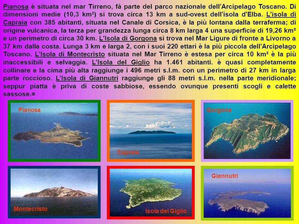 Pianosa è situata nel mar Tirreno, fà parte del parco nazionale dell Arcipelago Toscano. Di dimensioni medie (10,3 km²) si trova circa 13 km a sud-ovest dell isola d Elba. L isola di Capraia con 385 abitanti, situata nel Canale di Corsica, è la più lontana dalla terraferma; di origine vulcanica, la terza per grandezza lunga circa 8 km larga 4 una superficie di 19,26 km² e un perimetro di circa 30 km. L Isola di Gorgona si trova nel Mar Ligure di fronte a Livorno a 37 km dalla costa. Lunga 3 km e larga 2, con i suoi 220 ettari è la più piccola dell Arcipelago Toscano. L Isola di Montecristo situata nel Mar Tirreno è estesa per circa 10 km² è la più inaccessibili e selvaggia. L'Isola del Giglio ha 1.461 abitanti. è quasi completamente collinare e la cima più alta raggiunge i 496 metri s.l.m. con un perimetro di 27 km in larga parte roccioso. L'Isola di Giannutri raggiunge gli 88 metri s.l.m. nella parte meridionale; seppur piatta è priva di coste sabbiose, essendo ovunque presenti scogli e calette sassose.=