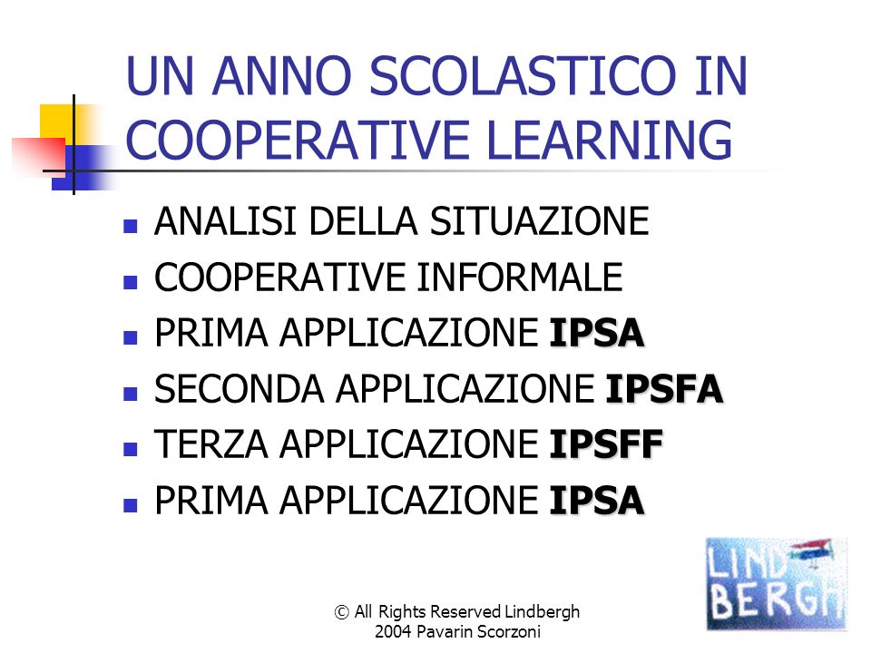 UN ANNO SCOLASTICO IN COOPERATIVE LEARNING