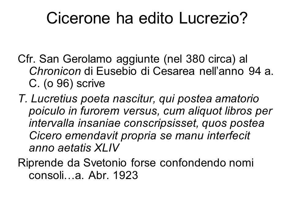 Cicerone ha edito Lucrezio