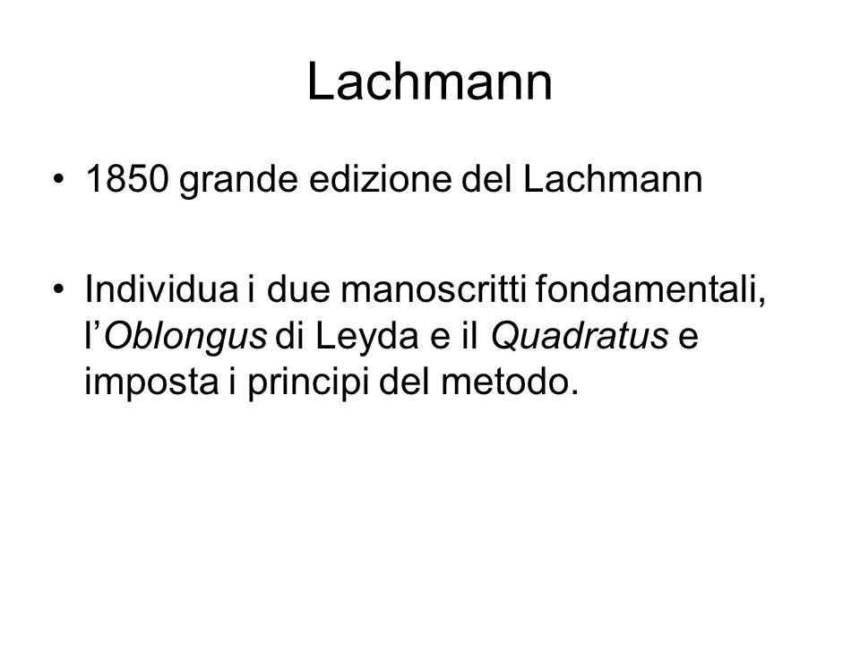 Lachmann 1850 grande edizione del Lachmann