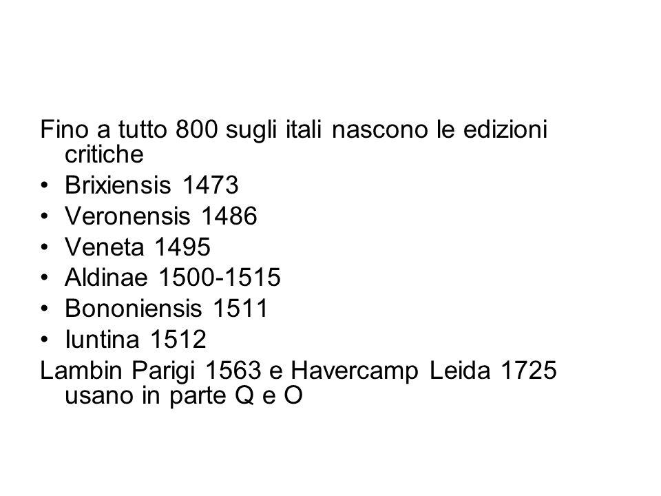 Fino a tutto 800 sugli itali nascono le edizioni critiche
