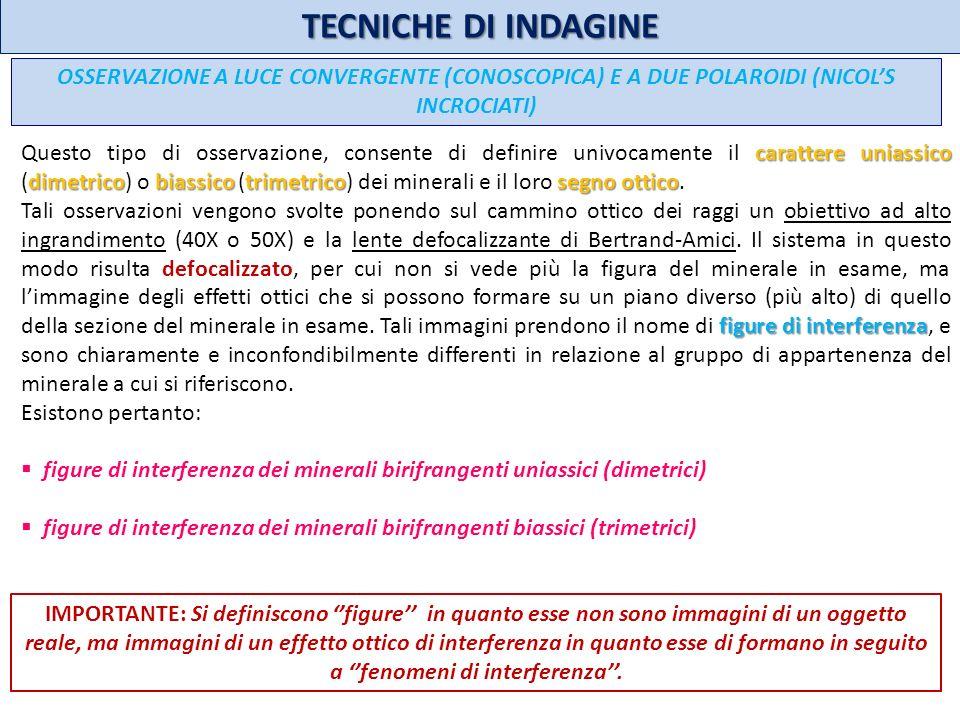 TECNICHE DI INDAGINE OSSERVAZIONE A LUCE CONVERGENTE (CONOSCOPICA) E A DUE POLAROIDI (NICOL'S INCROCIATI)