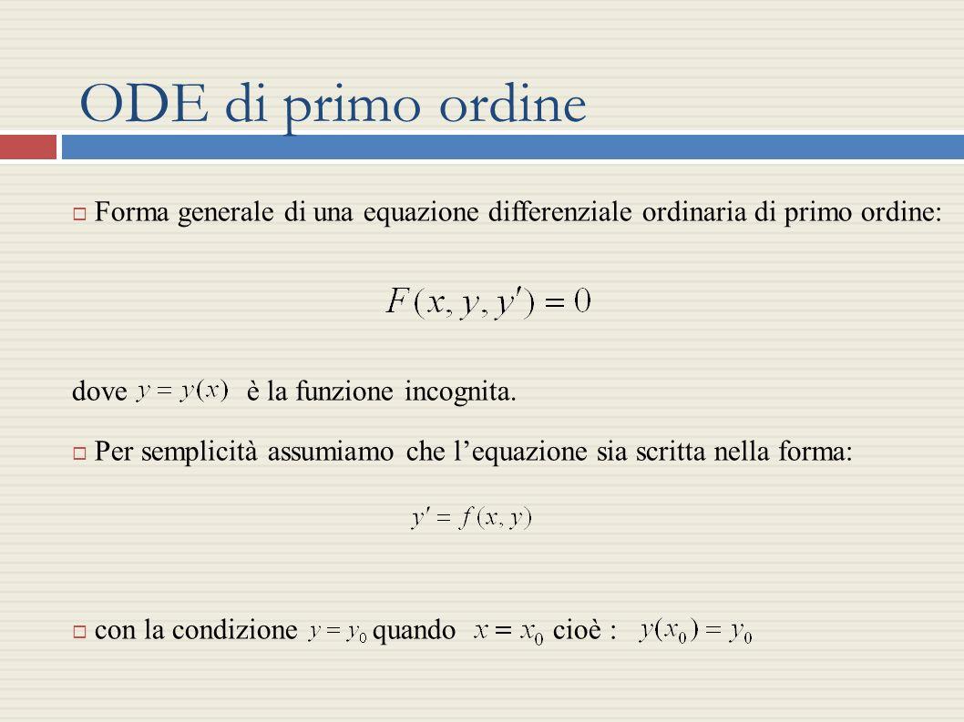 ODE di primo ordine Forma generale di una equazione differenziale ordinaria di primo ordine: dove è la funzione incognita.