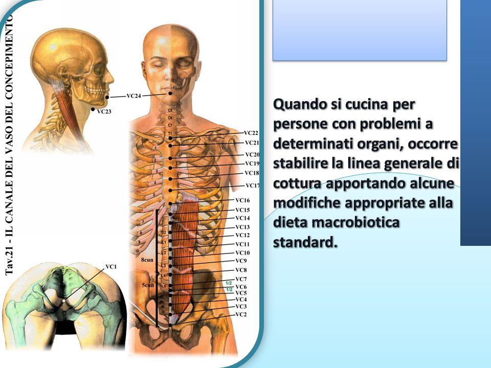 Quando si cucina per persone con problemi a determinati organi, occorre stabilire la linea generale di cottura apportando alcune modifiche appropriate alla dieta macrobiotica standard.