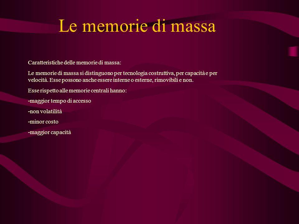 Le memorie di massa Caratteristiche delle memorie di massa: