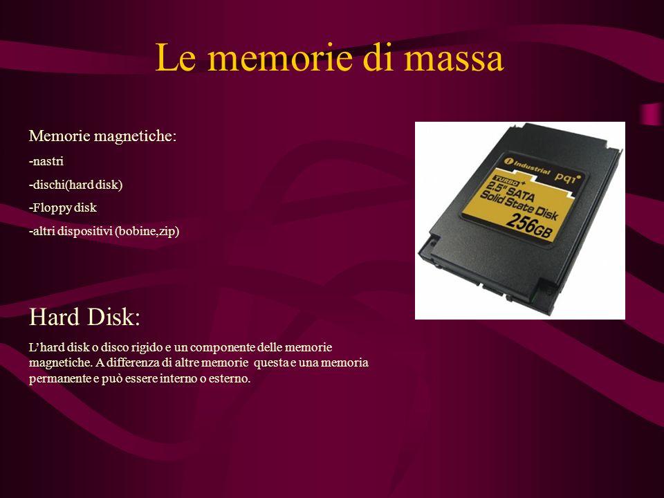 Le memorie di massa Hard Disk: Memorie magnetiche: -nastri