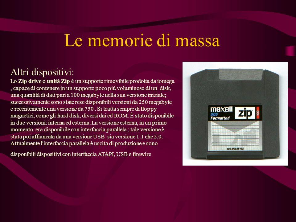 Le memorie di massa Altri dispositivi: