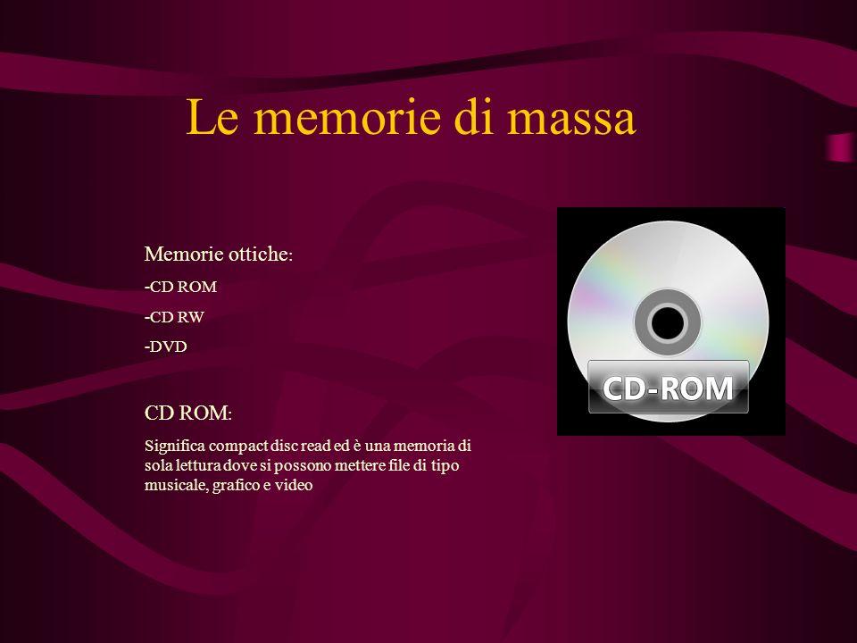 Le memorie di massa Memorie ottiche: CD ROM: -CD ROM -CD RW -DVD