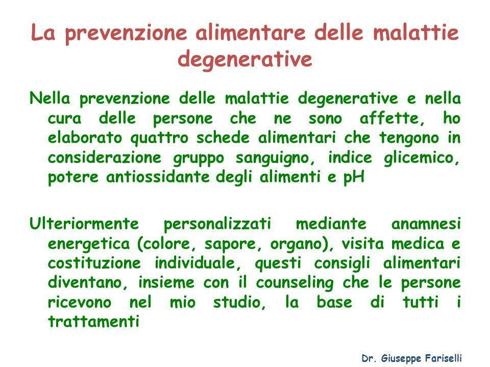 La prevenzione alimentare delle malattie degenerative