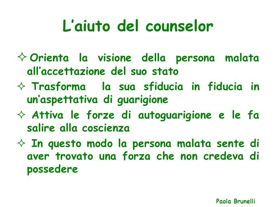 L'aiuto del counselor Orienta la visione della persona malata all'accettazione del suo stato.