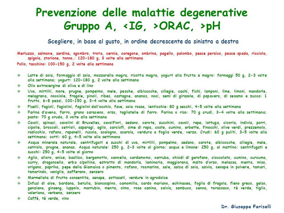 Prevenzione delle malattie degenerative Gruppo A, <IG, >ORAC, >pH