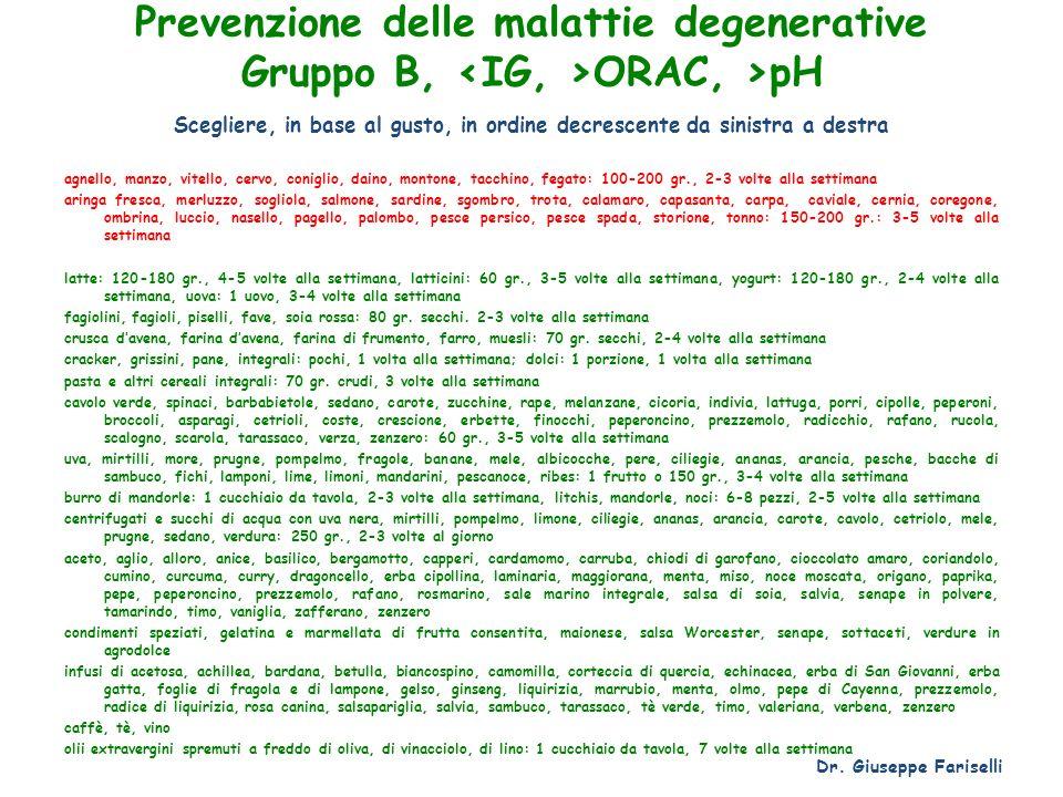 Prevenzione delle malattie degenerative Gruppo B, <IG, >ORAC, >pH