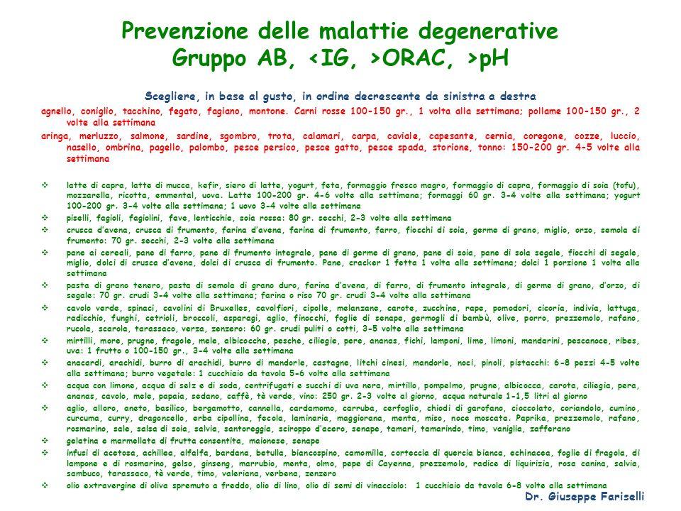Prevenzione delle malattie degenerative Gruppo AB, <IG, >ORAC, >pH