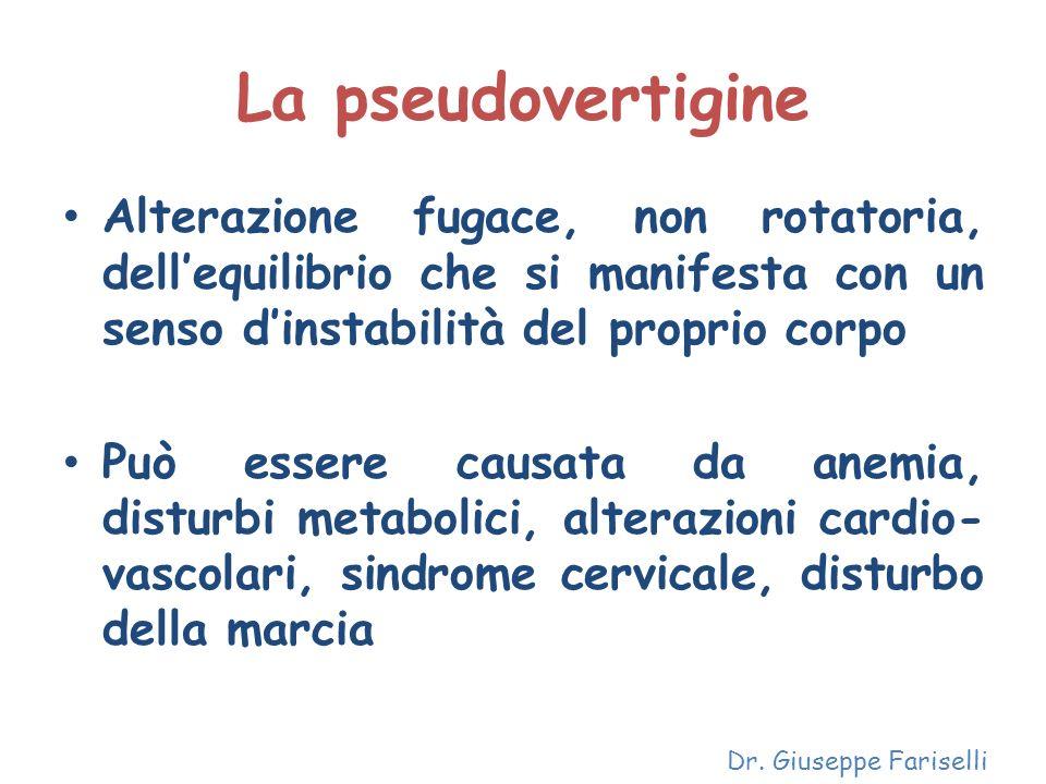 La pseudovertigine Alterazione fugace, non rotatoria, dell'equilibrio che si manifesta con un senso d'instabilità del proprio corpo.