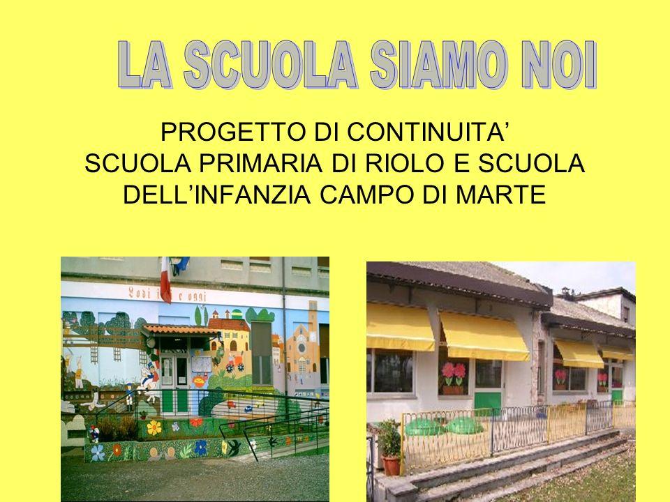 LA SCUOLA SIAMO NOIPROGETTO DI CONTINUITA' SCUOLA PRIMARIA DI RIOLO E SCUOLA DELL'INFANZIA CAMPO DI MARTE.