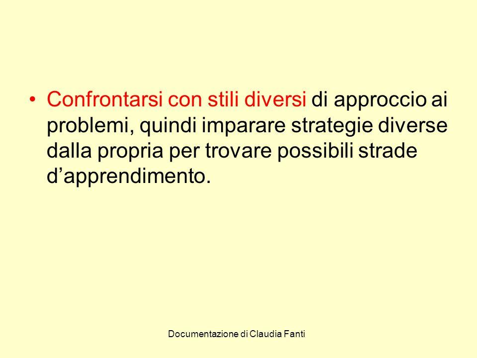 Confrontarsi con stili diversi di approccio ai problemi, quindi imparare strategie diverse dalla propria per trovare possibili strade d'apprendimento.