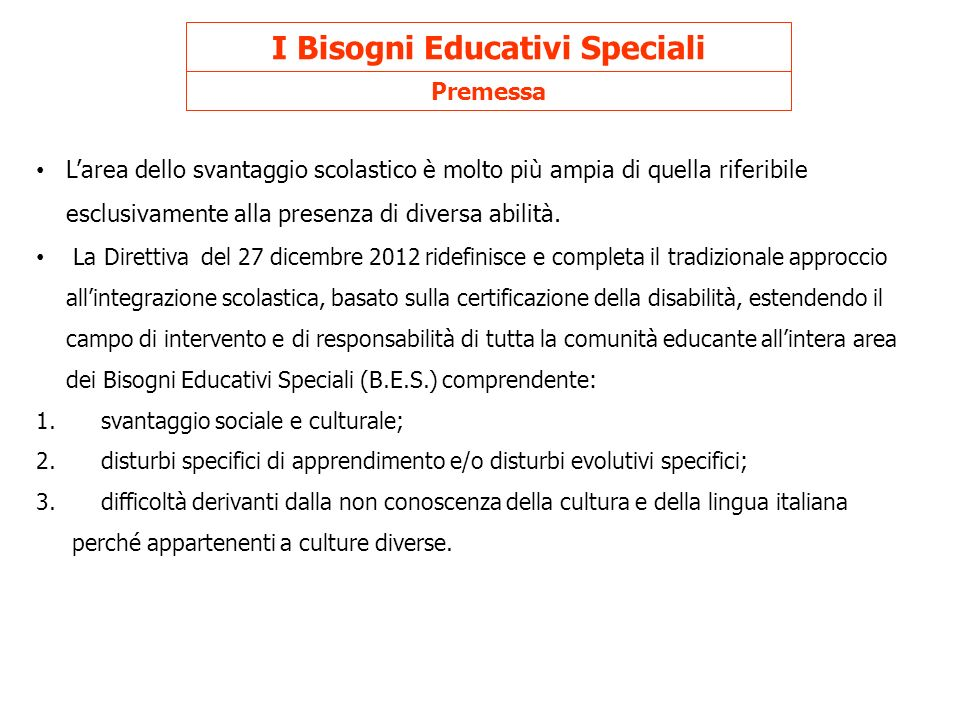 I Bisogni Educativi Speciali