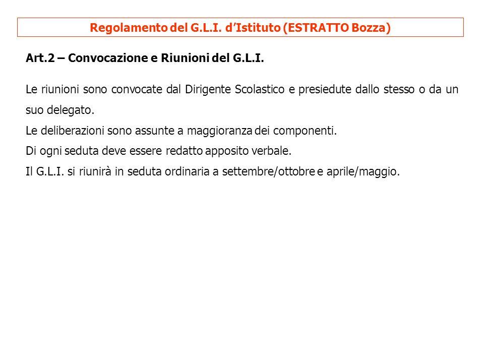 Regolamento del G.L.I. d'Istituto (ESTRATTO Bozza)