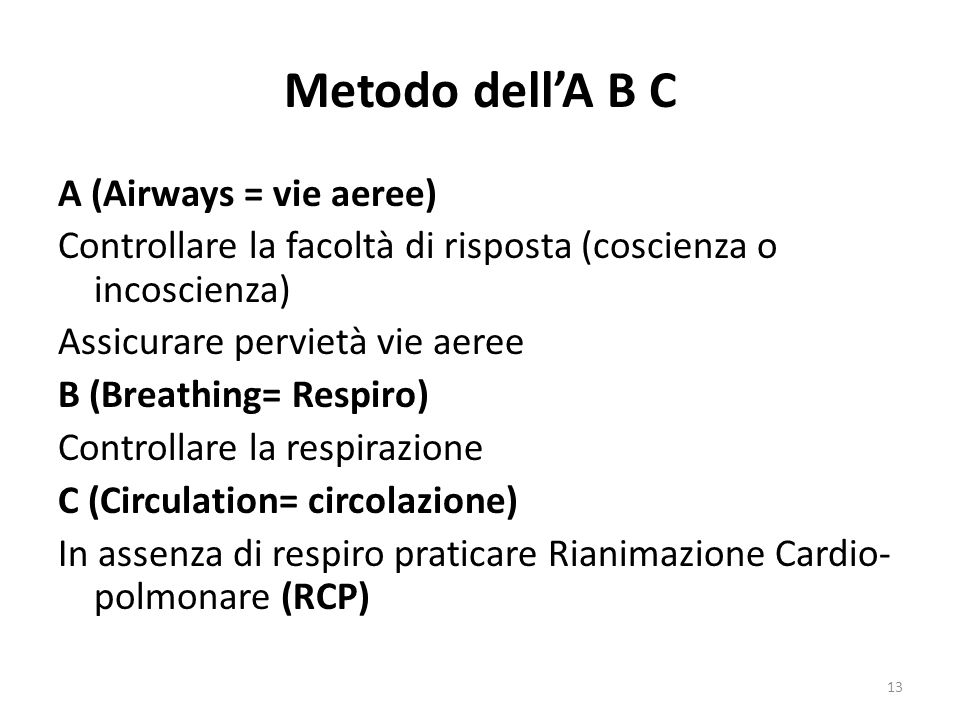 Metodo dell'A B C A (Airways = vie aeree)